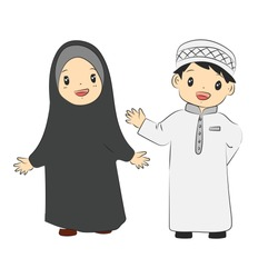 two muslim and muslimah cute kids islamic smile and happy vector illustration - Vector