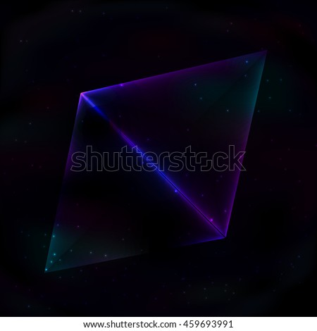 two neon glowing triangles in