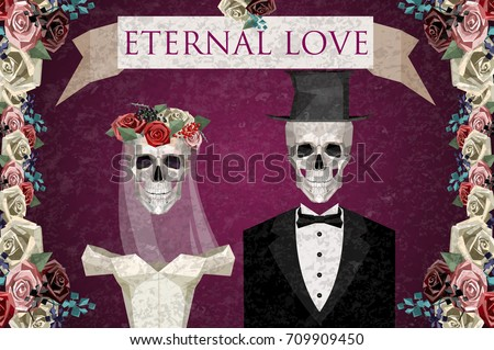 two newlywed skeletons in low