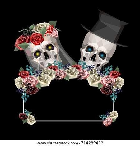 two newlywed skulls in low poly ...