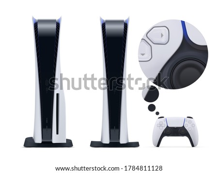 Two nextgen console with gamepad controller isolated on white background. Vector illustration