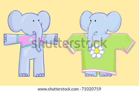 two nice bewildered elephant in clothes not to fit isolated on yellow background