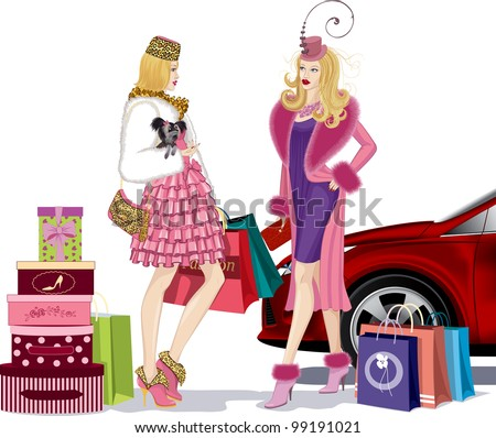 Two nicely dressed young women standing and talking in an environment bags after successful shopping near red car. One of the girls holding a small dog in her right hand. - stock vector