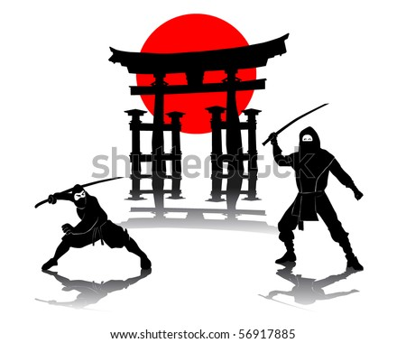 Two ninjas battling against Itsukushima