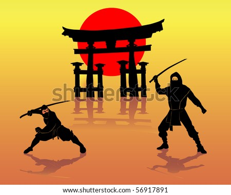 Two ninjas battling against Itsukushima