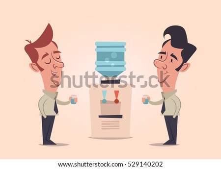 two office workers talking and