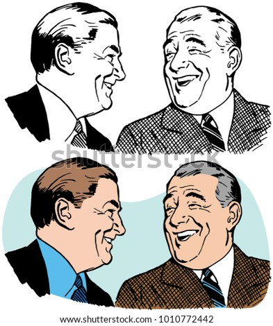Two older businessmen talking and laughing.