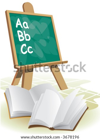 Two open blank books in front of blackboard.