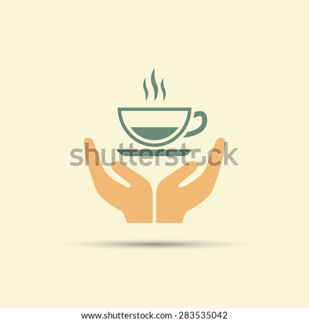 Two Open Hands Holding Cup Of Coffee Isolated Vector ...