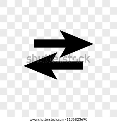Two opposite arrows vector icon on transparent background, Two opposite arrows icon