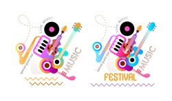 Two options of Music festival poster design. Vector illustration with musical instruments and text isolated on a white background.