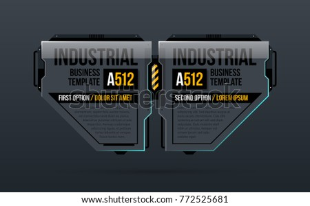 Two options template in industrial style on dark gray background