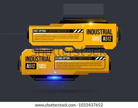 Two options template in yellow industrial techno style on dark gray background