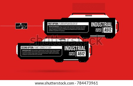 Two options template with hi-tech elements in black and red techno style on flat vibrant background