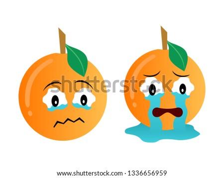 two orange emoticons with sad
