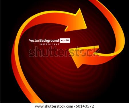 Two orange graph arrows swirl vector background