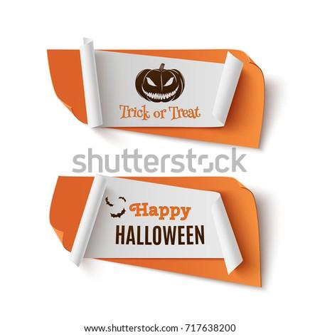 two orange  halloween  treat or