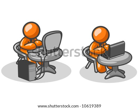Two orange men on two computers, one  a laptop, and the other a tower.