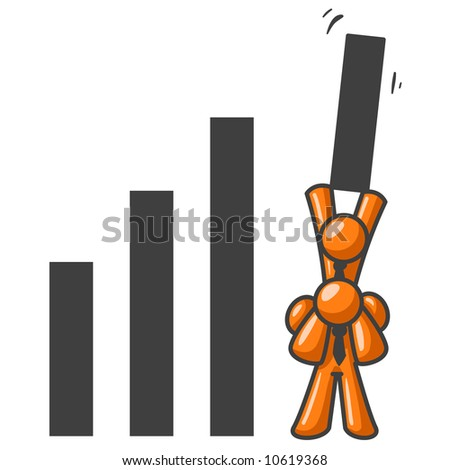 Two orange men teaming up to get the highest bar on a graph. Good to represent teamwork.