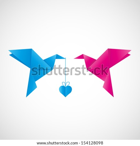 Two origami birds with heart