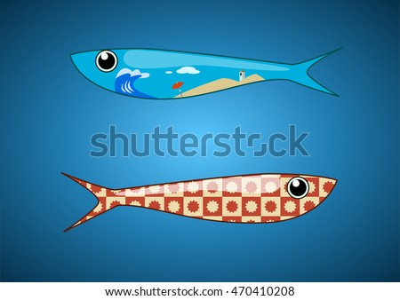 two ornamental sardines with