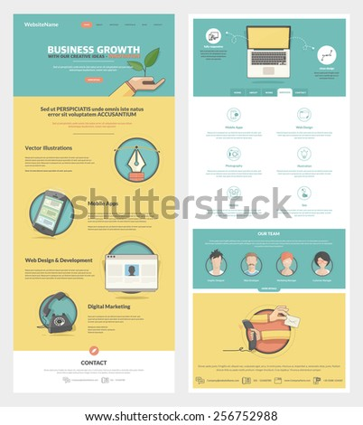 Two page Website design template with concept icons and avatars