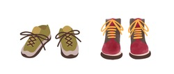 Two pair of colorful autumn shoes hand drawn in watercolor style isolated on white. Cartoon sneakers and boots front view vector flat illustration. Casual stylish seasonal footwear