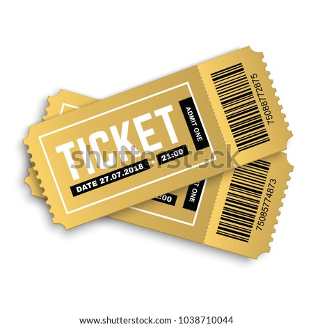 Two, pair vector golden tickets isolated on white background. Cinema, theatre,  concert, play, party, event and festival gold ticket realistic template set. Ticket icon for website.