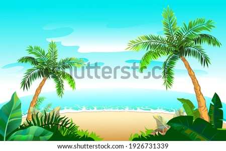 two palm tree and sandy beach