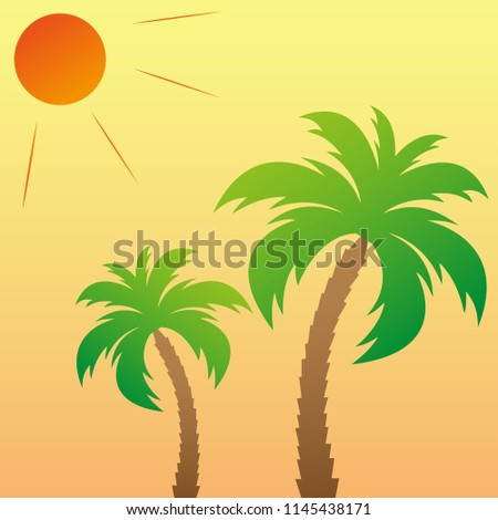 two palm trees under the sun