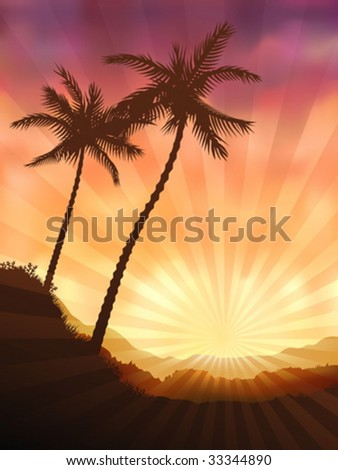 two palms at sunset  other
