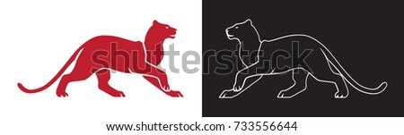 two panther silhouette  vector