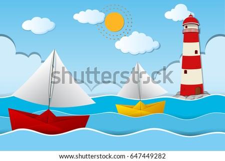two paper boats sailing at sea