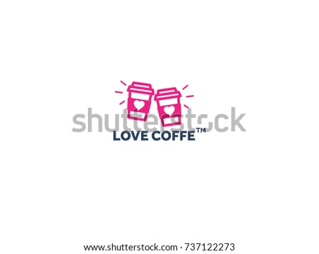 two paper coffee cups logo with