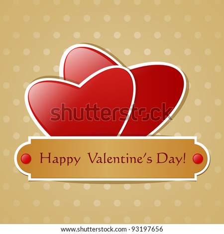 Two paper red hearts on pattern background.