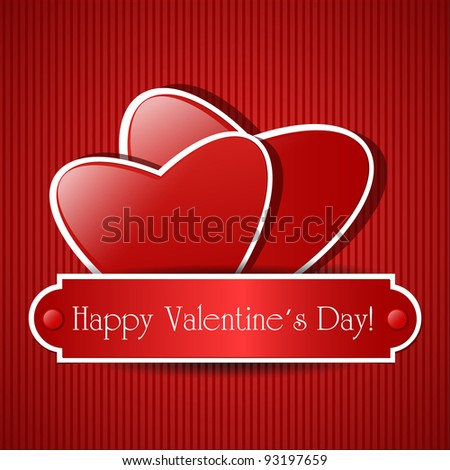 Two paper red hearts. Vector card with place for text. - stock vector