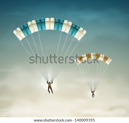 two parachutists in sky eps 10