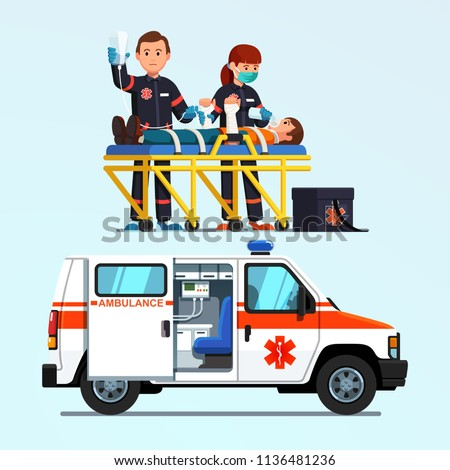 Two paramedics emergency rescue team giving first aid to injured patient on stretcher. Ambulance car. Medicine and injury emergency paramedics first aid car. Flat vector isolated illustration