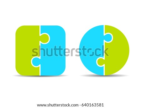 Two part puzzle diagram template, vector eps illustration isolated on white background