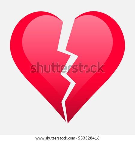 Two Parts Of Broken Heart Valentine Heart Symbol Wedding Vector