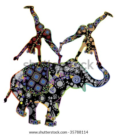 Two patterned acrobat performing a trick on the back of an elephant patterned in ethnic style