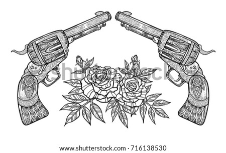 two patterned revolvers and