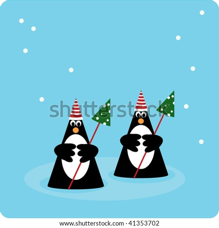 Two penguins in snow environment with christmas trees