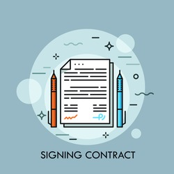 Two pens of different color and paper document between them. Contract signing, conclusion of business agreement, deal making concept. Vector illustration for banner, website, poster, presentation.