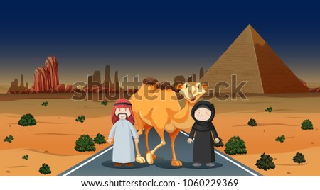 two people and camel in the