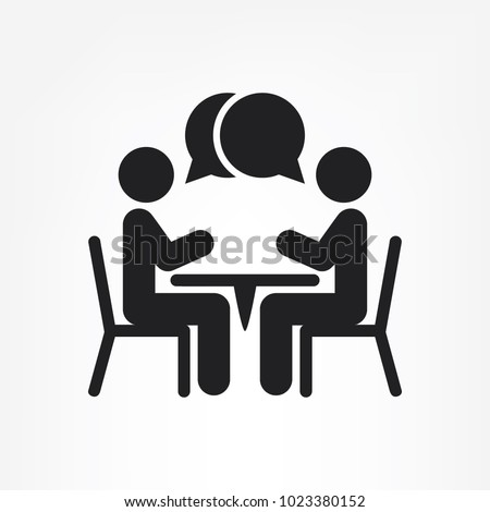 two people at the table icon, vector illustration eps10
