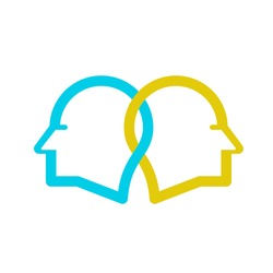 Two people being in sync or on the same wavelength which is practiced in psychotherapy. Logo vector.
