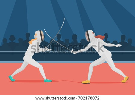 Two people doing fencing. Fencing championship vector illustration.