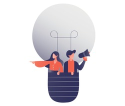 Two people flying in a hot air balloon representing entrepreneurs, ideas, boost, talent, young, future. Flying in their ideas and pointing to the future. Concept for business and marketing.