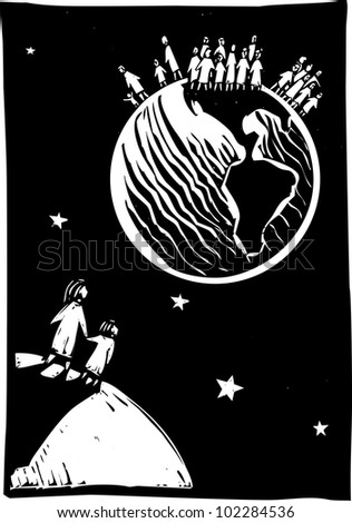 Two people looking back at the over populated earth. - stock vector